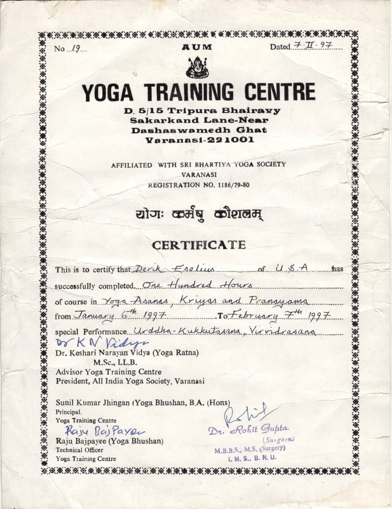 Derik Eselius' first yoga training certification from 1997 in Varanasi India.