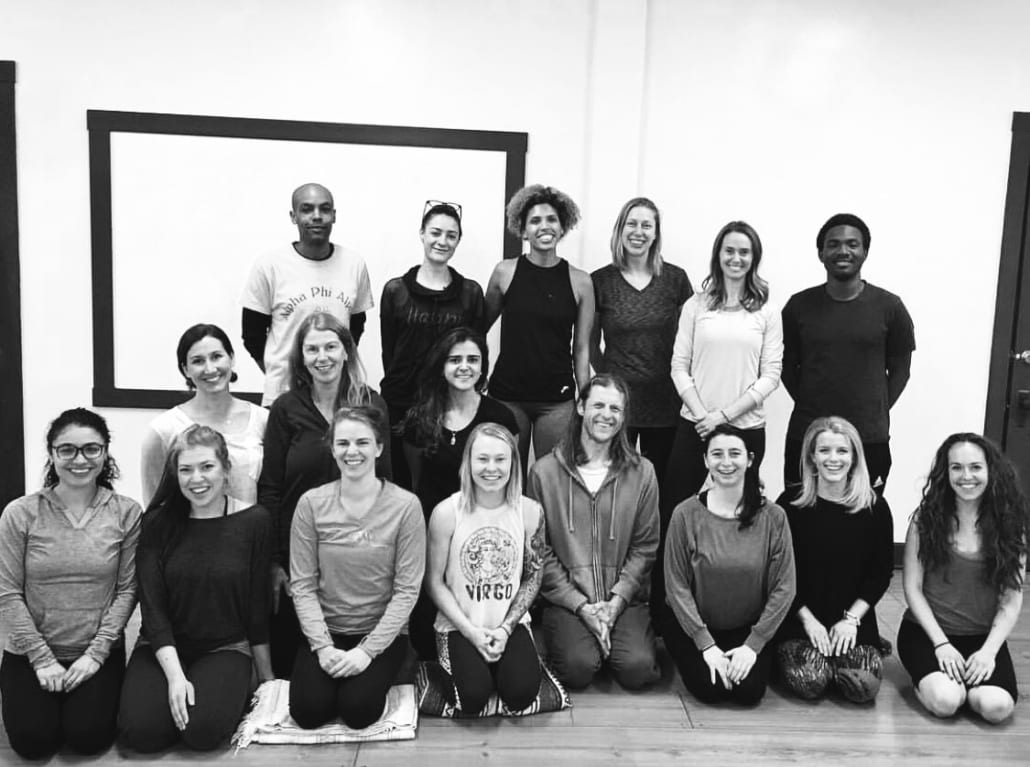 Group of yoga teacher training students.